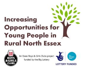 Logo for Increasing Opportunities for Young People in Rural North Essex funded by The Big Lottery and designed and delivered by Essex Boys and Girls Clubs