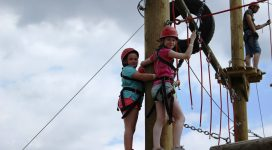 Essex Adventure Weekend - Young Person on the high ropes at Stubbers Adventure Centre
