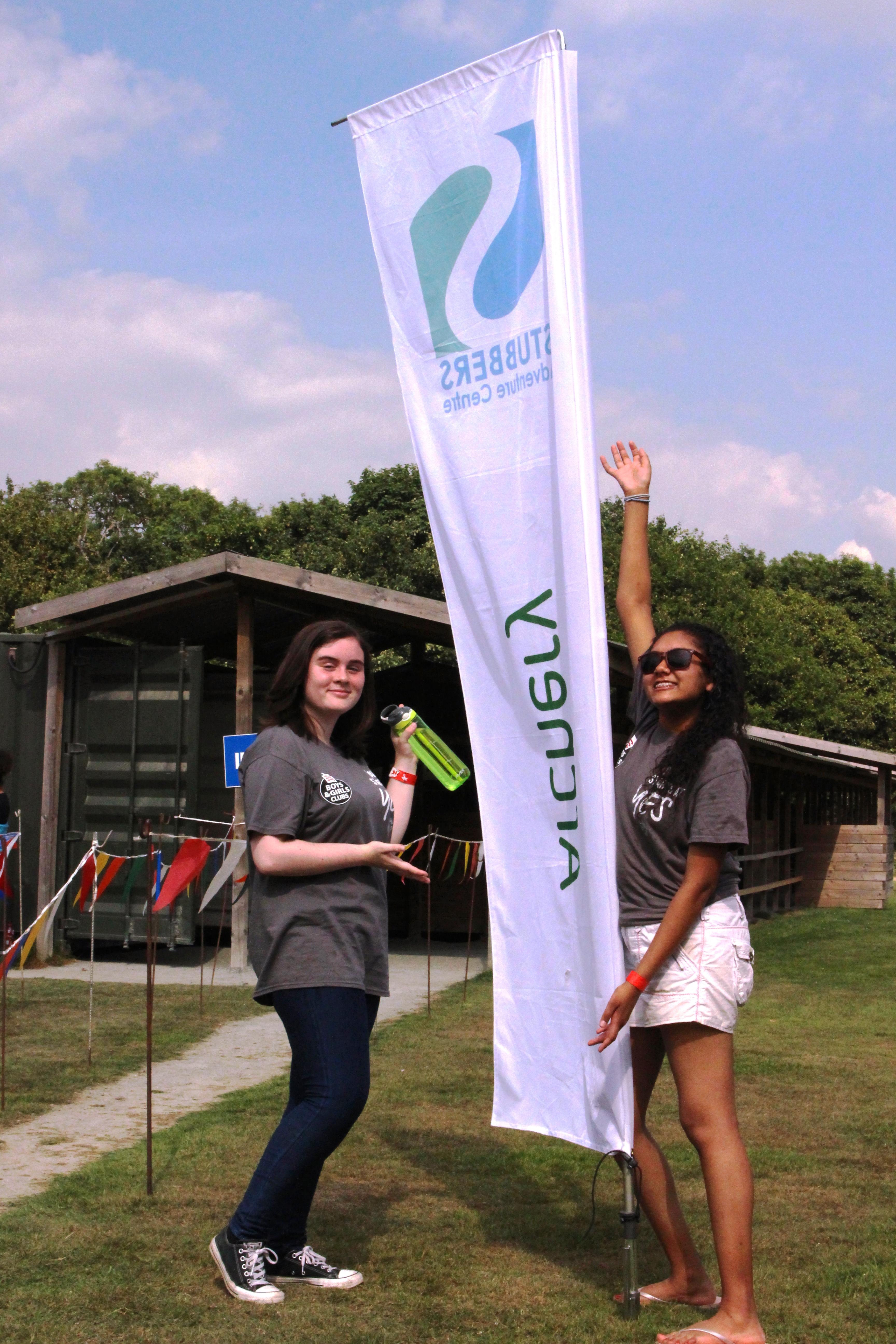 Volunteers Louise + Anjaly at Adventure Weekend