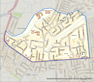 Map marking the Canvey Big Local geographical area of interest
