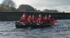 Picture of young people canoeing down the River Wye on there Nepal Training Weekend