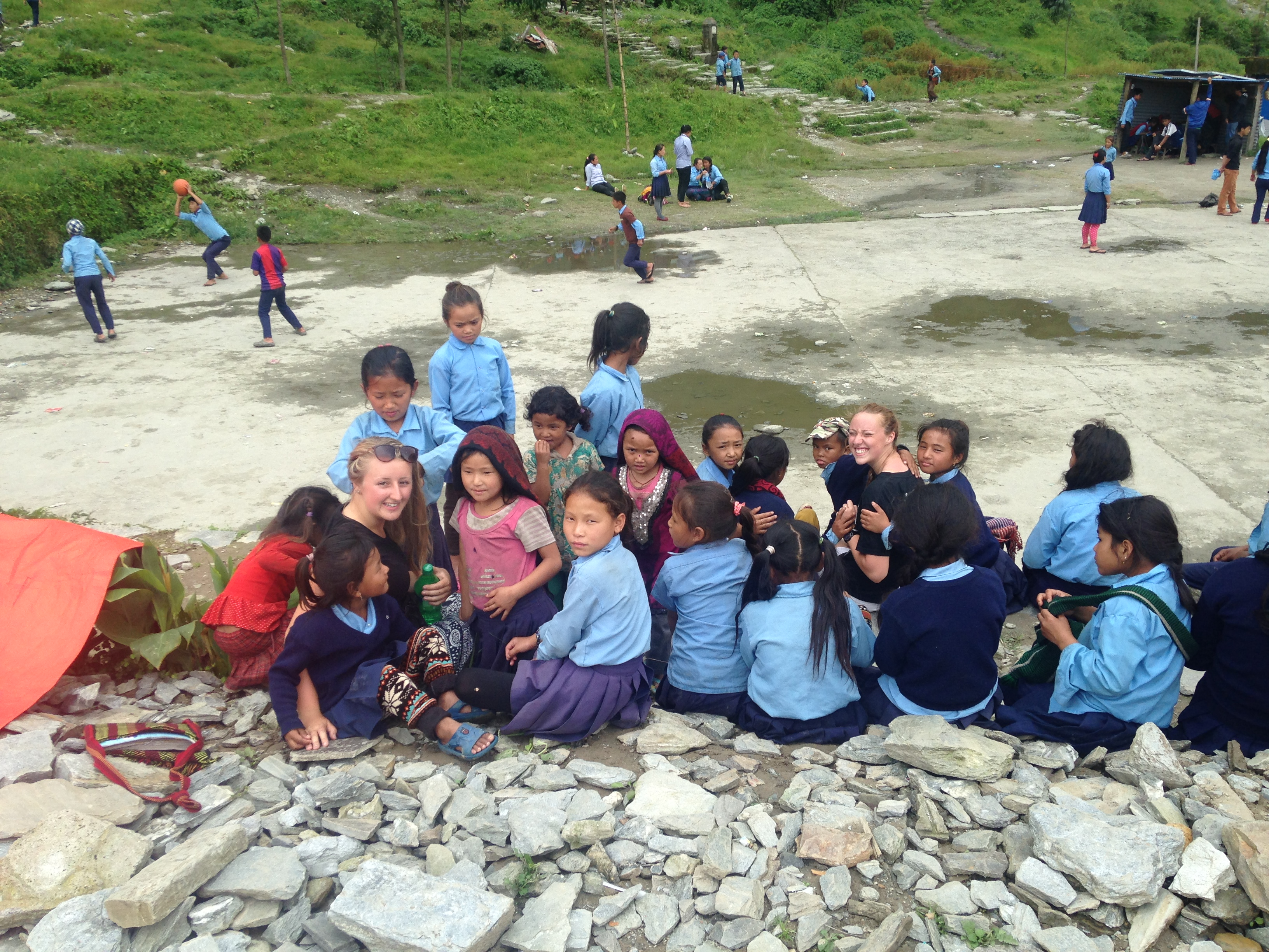 Young People in Barpak with local children