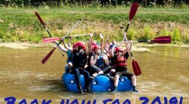 Young people on a raft at EBGC Laer Marney Outdoor Centre