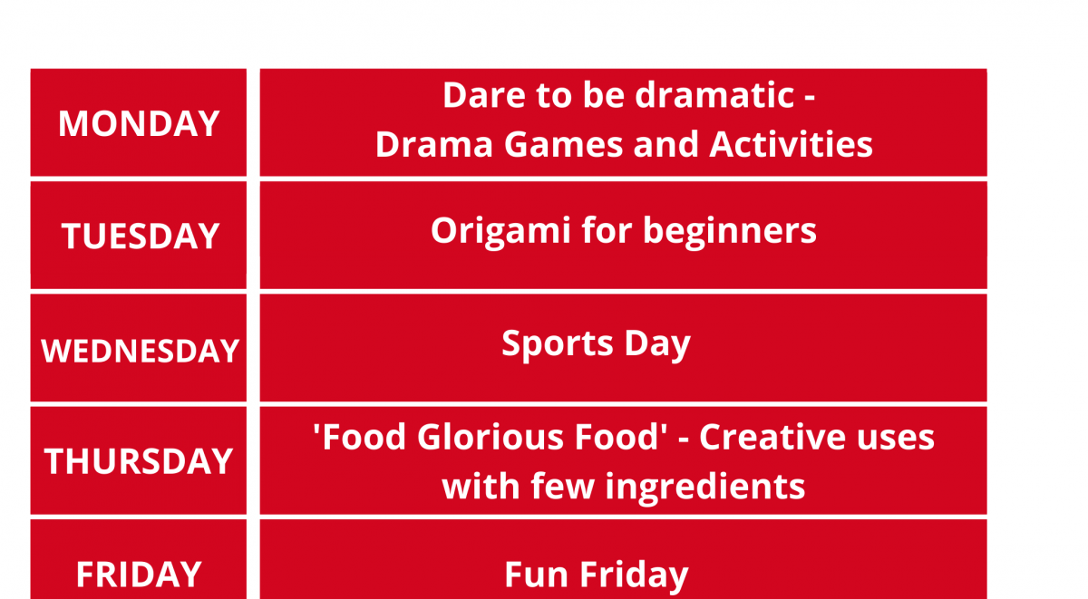 A Red block with text heads the poster. It says Half Term. Every day at two P M. Monday dare to be dramatic, Drama games and activities. Tuesday Origami for beginners. Wednesday Sports Day. Thursday Food Glorious Food, Creative uses with few ingredients. Friday is Fun Friday. The zoom code is 8123 8383 237 . We are a registered charity, with the charity number being 1163658